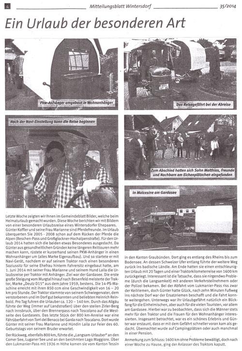 Reisebericht aus unserem Gemeindeanzeiger