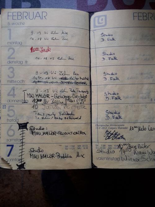 Die Tagesdienste beim Süddeutschen Rundfunk und die Termine im melody tonstudio