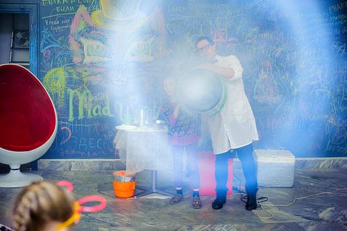 дымовое шоу на детский праздник день рождения ребенка Москва