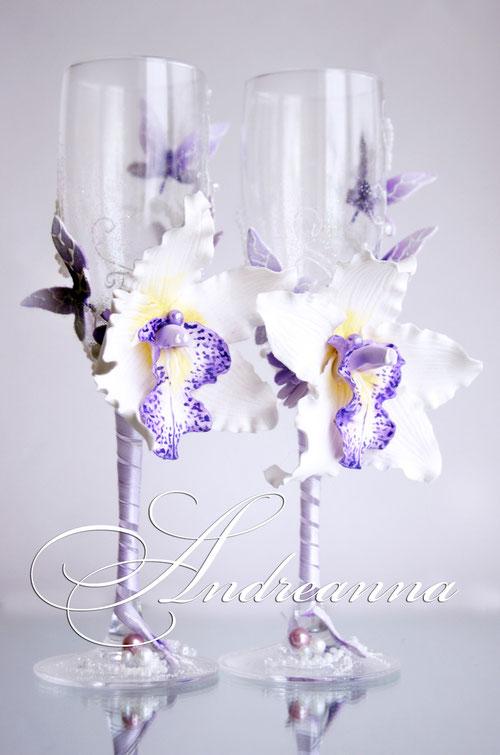 Бокалы «Сиреневая орхидея Butterflies» Выполняются в любом цветовом решение. Стоимость 800 грн.