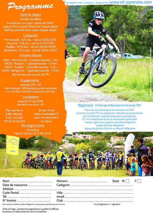 programme mini Carach Bike 2018