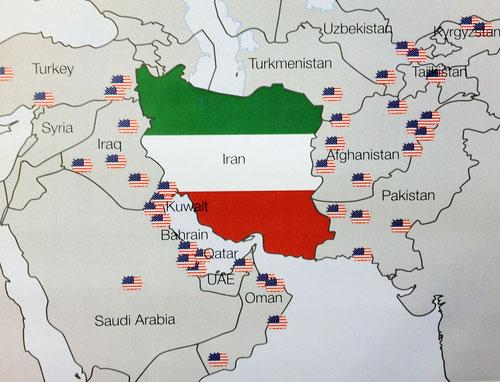Le basi americane in Medio Oriente circondano l'Iran.