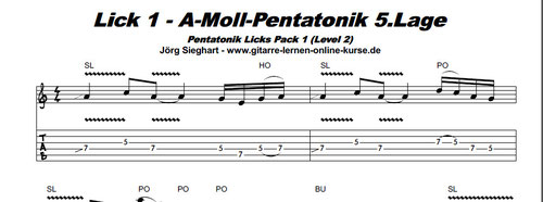 Pentatonik Licks Pack 1 E-Gitarre lernen (Noten- & TAB-Bsp. / Ausschnitt)   Zum Vergrößern bitte anklicken !