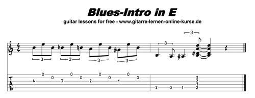 """Intro-Gitarren-Lick in """"E"""" - vergrößern durch anklicken !"""