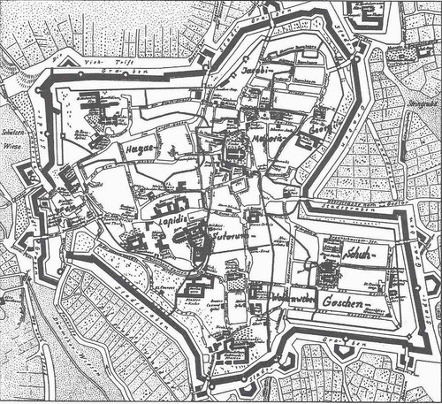 Karte des mittelalterlichen Hildesheim