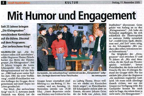 """Die Theatergruppe spielt """"Der zerbrochene Krug"""" (Stadt Nachrichten, 11.11.2005)"""