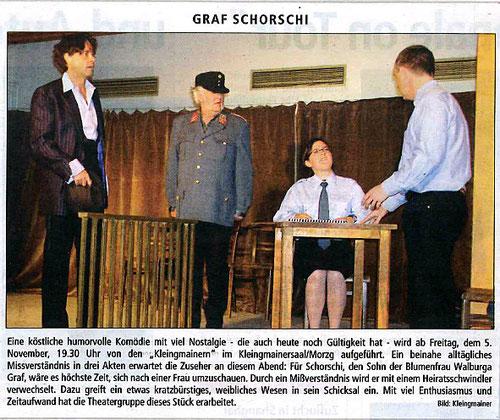"""Mit """"Graf Schorschi"""" bringt die Theatergruppe eine köstliche humorvolle Komödie auf die Bühne (Stadt Nachrichten, 5.11.2004)"""