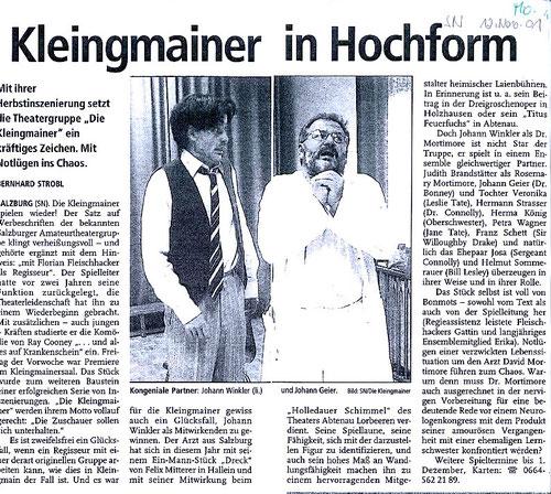 """""""Die Kleingmainer"""" in bewährter Hochform (Salzburger Nachrichten, 12.11.2001)"""