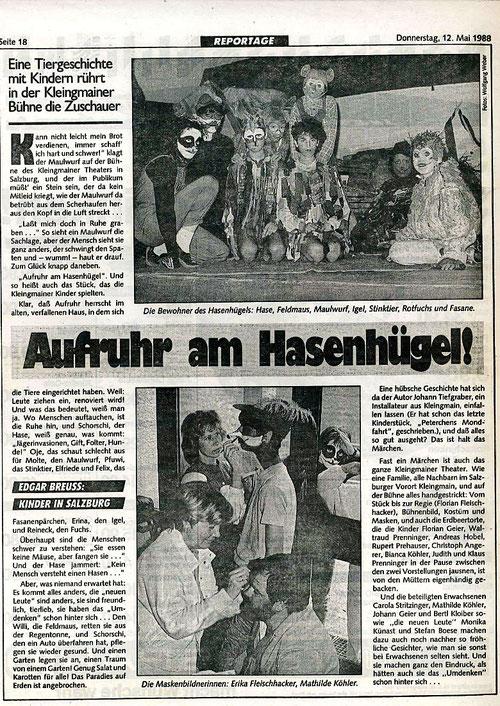 """Die Tiergeschichte """"Aufruhr am Hasenhübel"""" rührt die Zuschauer (Kronen Zeitung, 12.5.1988)"""