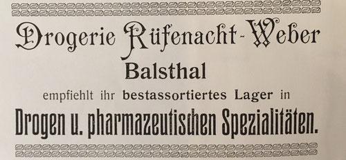 """Inserat der Drogerie Rüfenacht im """"Führer von Balsthal und Umgebung"""", 1912"""