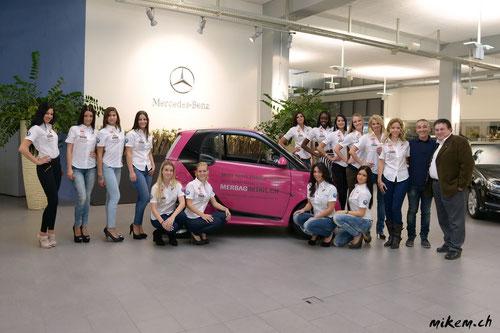 14 Finalistinnen der Miss Auto Zürich, Pietro De Notaristefano und Dieter Buchstab