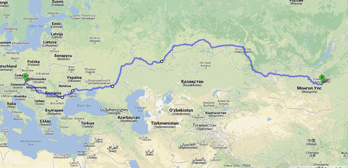 Hinreise über Rumänien, die Ukraine und Russland