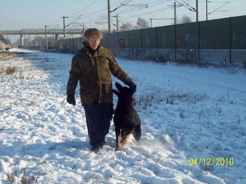 Arbeiten im Schnee macht großen Spaß !