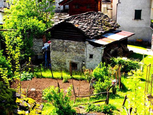 der Gemüsegarten hinter dem Backhaus gehört noch noch zum Alltags-Leben