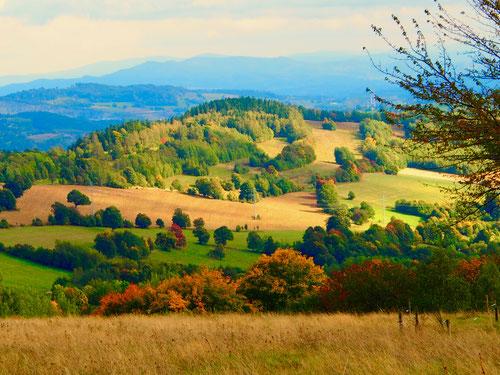 Blick auf die sanft geschwungene schlesische Hügel-Landschaft