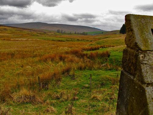 Blick von den Cheviot-Hills hinunter ins nahe Schottland