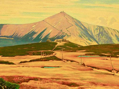 die Schneekoppe malerisch in wundervollen Farben dargestellt