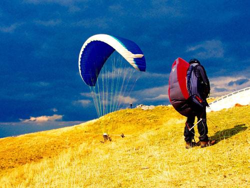 alles klar zum Abflug - eine starke Windböe sorgte für einen Traumstark