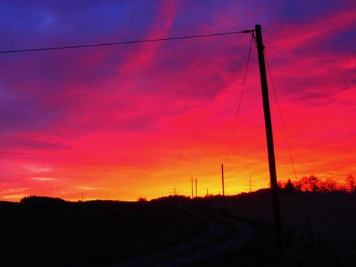 gigantisch der sonntägliche Sonnenaufgang am nächsten Morgen