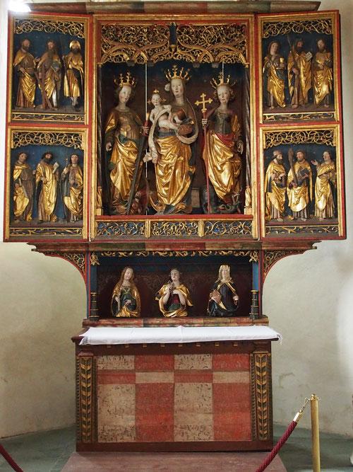 spätgotischer Flügelaltar, geschaffen um 1505. Ein Hauptwerk der Kärntner Schnitzkunst