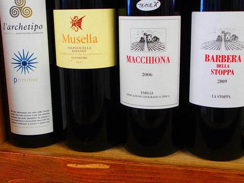 die vielen Weinmarken kamen alle aus der Umgebung
