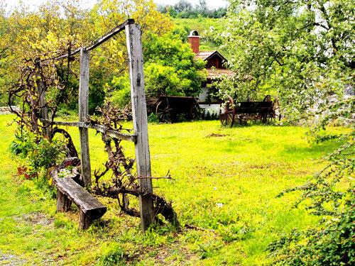 ein historisches Dorf mit schönen Häusern und Gärten