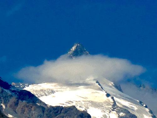 der Gipfelaufbau mit einem imposanten weissen Schnurbart