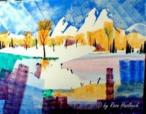 Acrylbild, acryl, park, allee, bäume, baum,  landschaft, herbstlandschaft,herbst, herbstallee, gelb, violett,gelb, blau, weiß,  bild, malen, malerei, kunst, geko, dekoration, wandbild, abstrakt