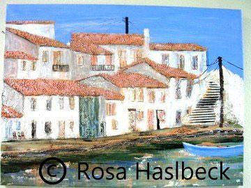 Acrylbild, acryl, insel, griechische Insel, collage, haus, häuser, schiff, wasser, braun, rot, grün, blau, bild, malen, malerei, kunst, geko, dekoration, wandbild, abstrakt