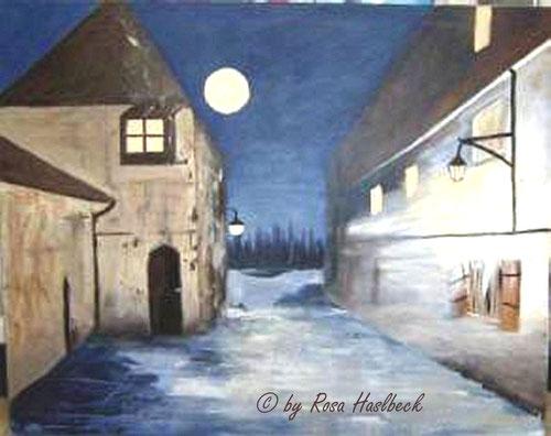 Acrylbild, acryl, haus, häuser, mond, nacht, vollmond,  braun, blau,bild, malen, malerei, kunst, geko, dekoration, wandbild, abstrakt