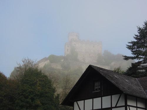 Burg Pyrmont oberhalb unserer Mühle! Noch im Nebel....aber nicht mehr lange!