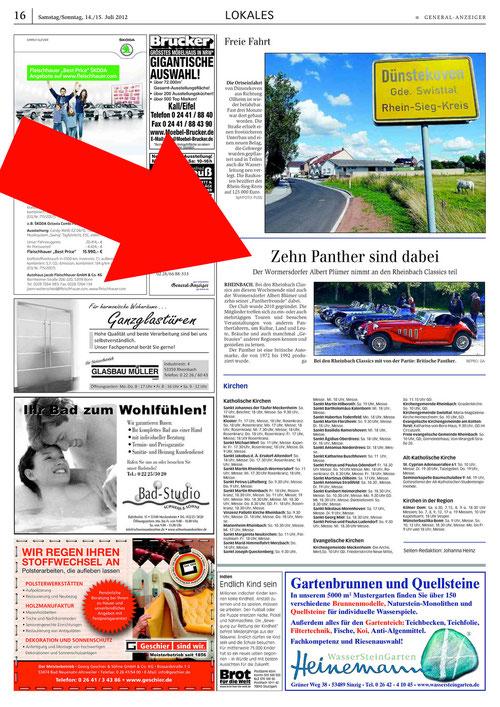 Panther-Artikel im Generalanzeiger