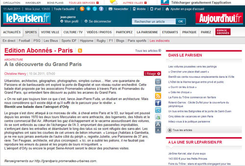 La journaliste du Parisien, Christine Henry, est venue à notre promenade de la Porte de Bagnolet inaugurée à l'occasion du lancement des promenades du Grand Paris