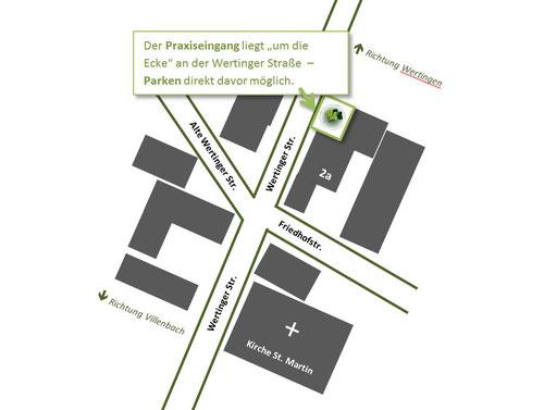 Skizze Eingang Naturheilpraxis Koutecky in Zusamaltheim
