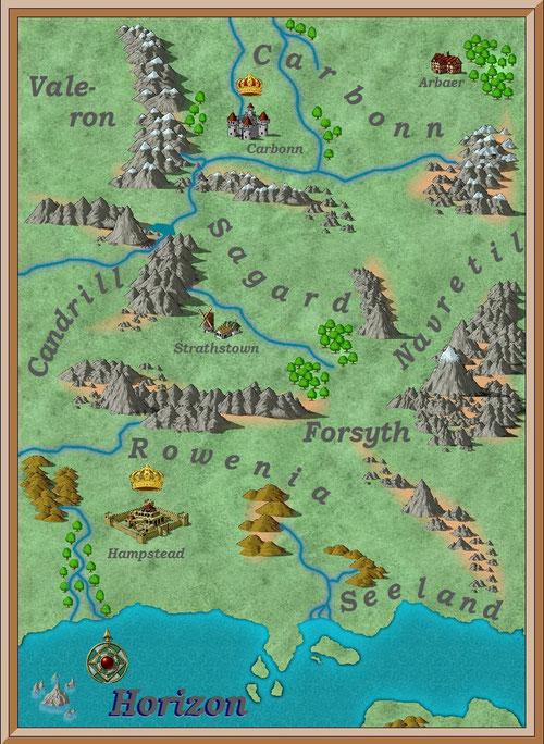 Landkarte der Fantasywelt Horizon