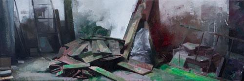 Brotes verdes (serie LA MARCA ESPAÑA), 160x60 cms , óleo sobre lienzo