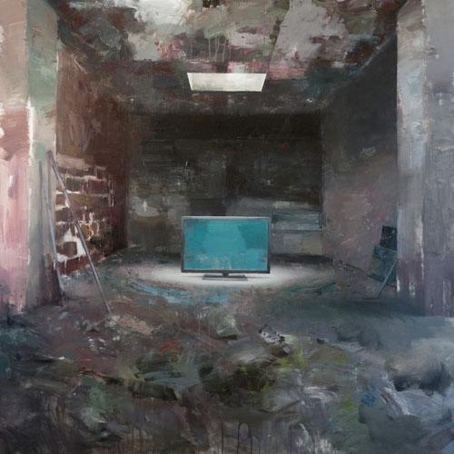 Sala de prensa (serie LA MARCA ESPAÑA), 150x150 cms , acrílico y óleo sobre lienzo
