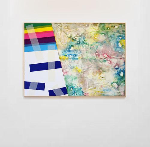Nouvelle série de Laurent Valera, confrontation de deux espaces, un peint et un de collage d'adhésifs.
