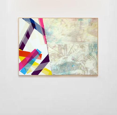 Nouvelle série de Laurent Valera, confrontation de deux espaces, un peint et un de collage d'adhésifs