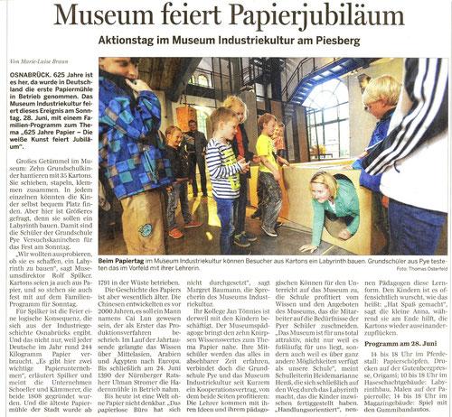 Berichterstattung u.a. zur Bildungspartnerschaft (Neue Osnabrücker Zeitung, 28.6.2015)
