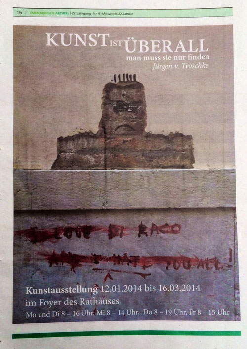 (Plakat mit Foto: Street Art am Rande der Biennale in Venedig, 2013, Foto : J.v.Troschke)