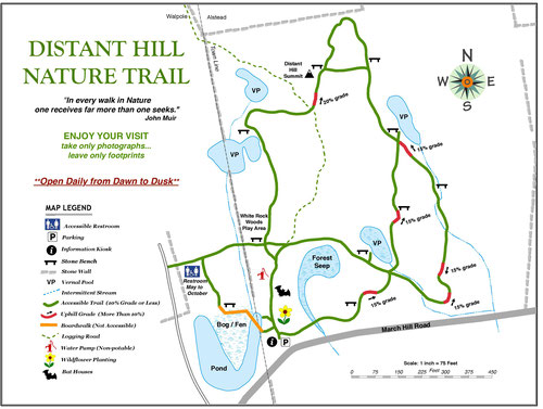 A map of Distant Hill Nature Trail as of February 2020. More trails are planned!