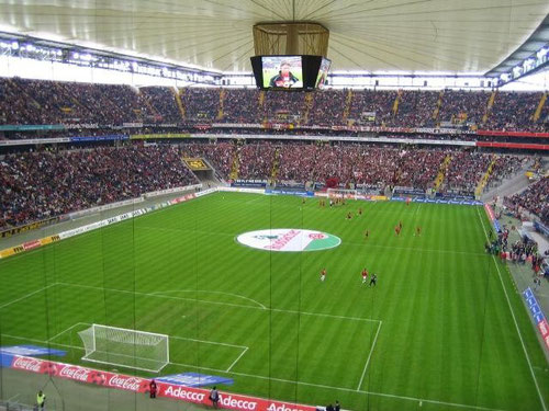 Stadium and crowds on football science Commerzbank Arena Frankfurt