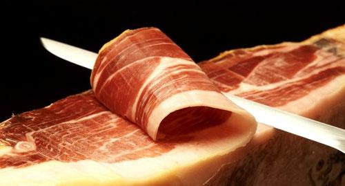 juego cuchillos jamoneros, corte de jamón