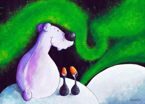 Bärige Polarnacht - Eisbärchen und Pinguine betrachten das Naturschauspiel der grünen ART