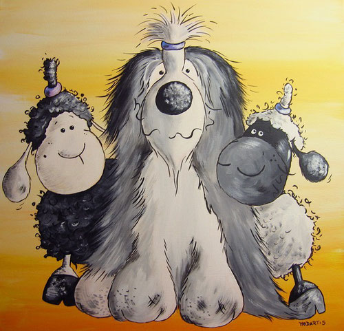 Bearded Collie und die Wollschafe, Beardie Cartoon, Hundebild