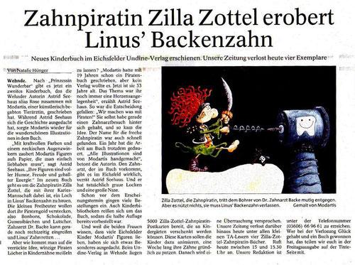 Zeitungsartikel Zilla Zottel Zahnpiratin