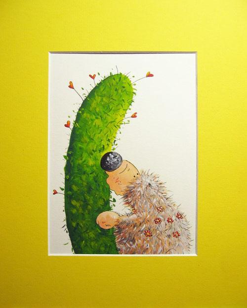 Amore - Kleines dickes Igelchen und Kaktus in love