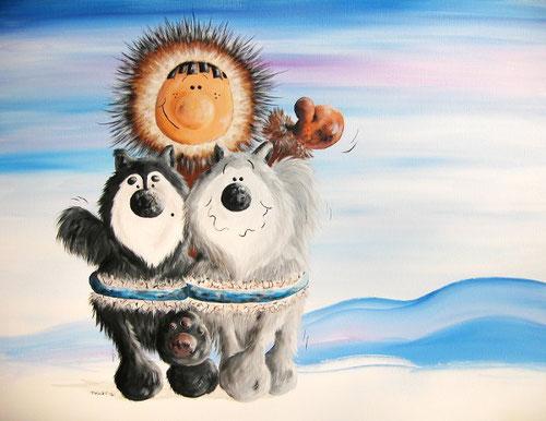 Schlittenhunde Malerei - Schlittenhundebild