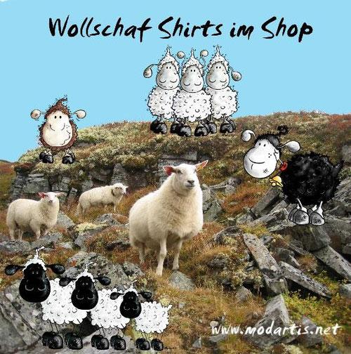 Wollschaf und Wolfschaf - Shirts sind neu im Modartis Tier Shirt Shop